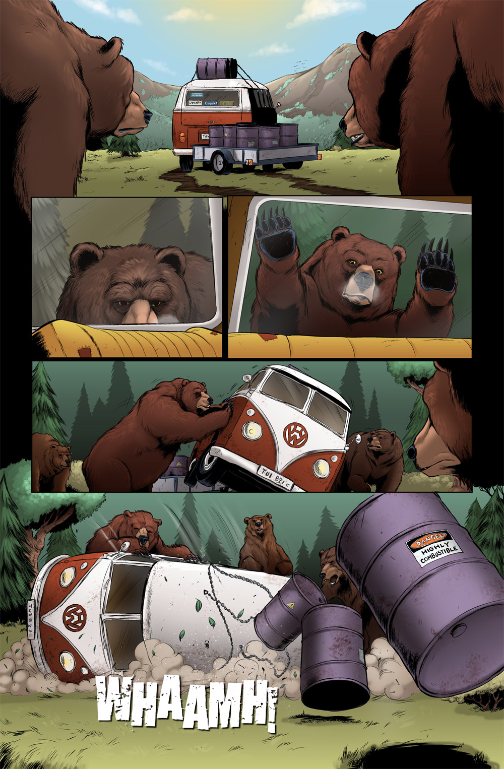 see how that one bear almost pushed the van on top of his friend.  They will probably have to have a talk later about being more attentive to one another..